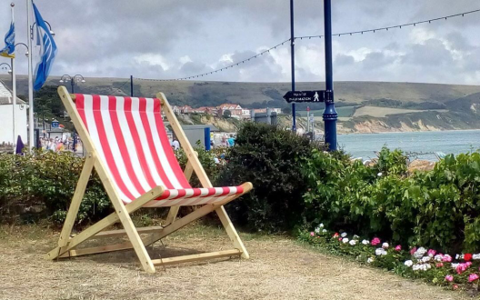 Red and White Striped Giant Deckchair