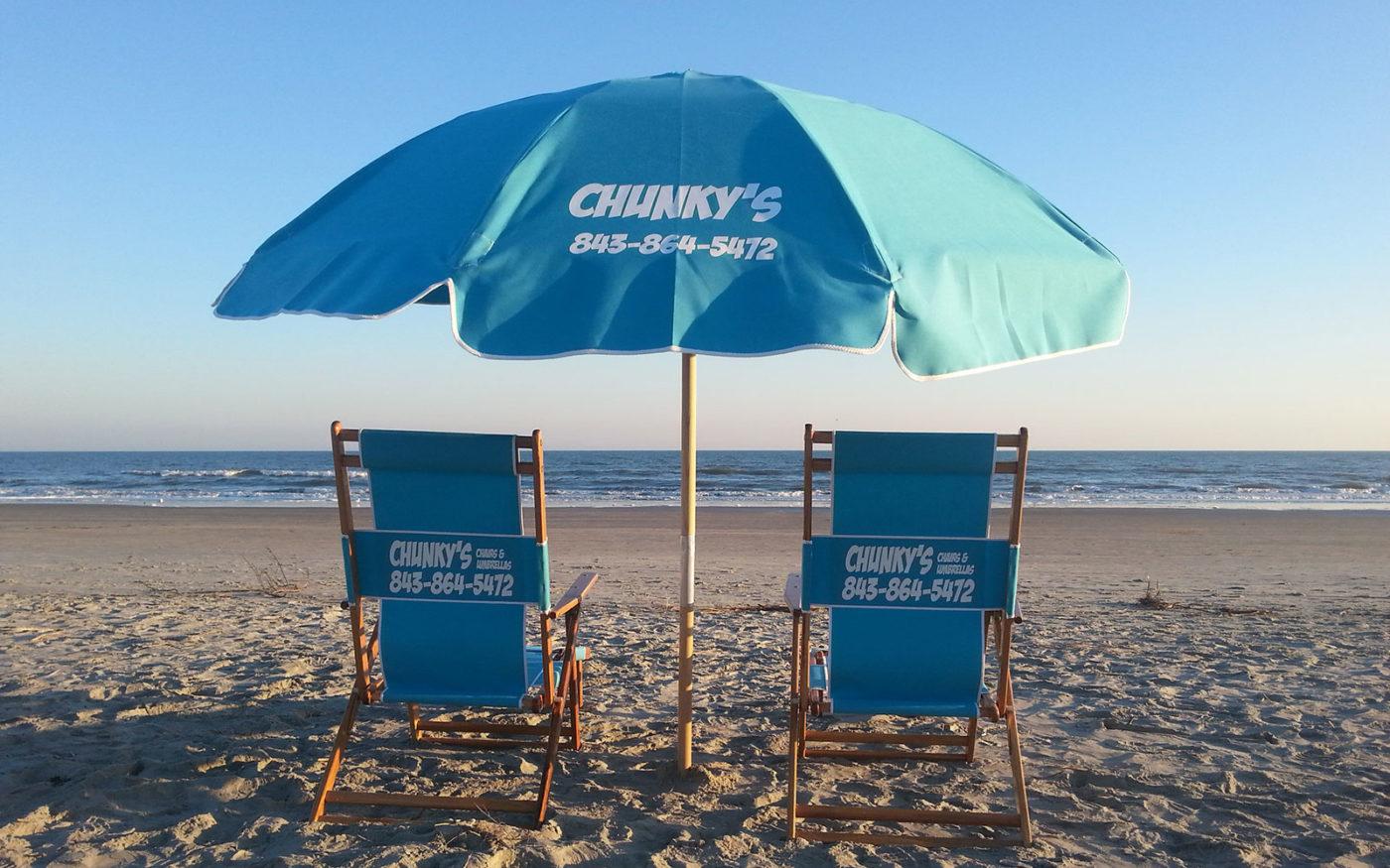 beach chair rental isle of palms glider rocking with ottoman australia chunky 39s chairs and umbrellas umbrella