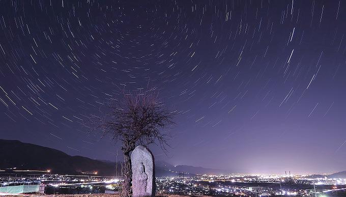 冬おばすて棚田善光寺平夜景星空