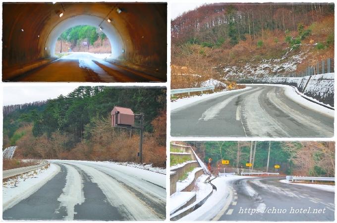 千曲市上山田四十八曲峠坂上トンネル積雪