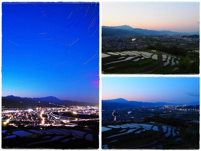 姨捨の棚田と善光寺平の風景夜景