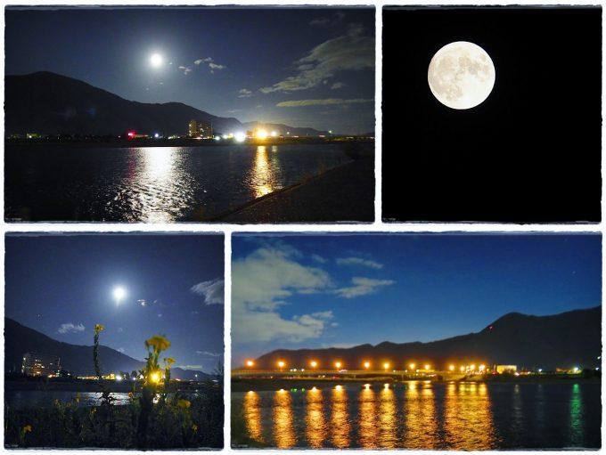 月の都千曲中秋の名月満月千曲川