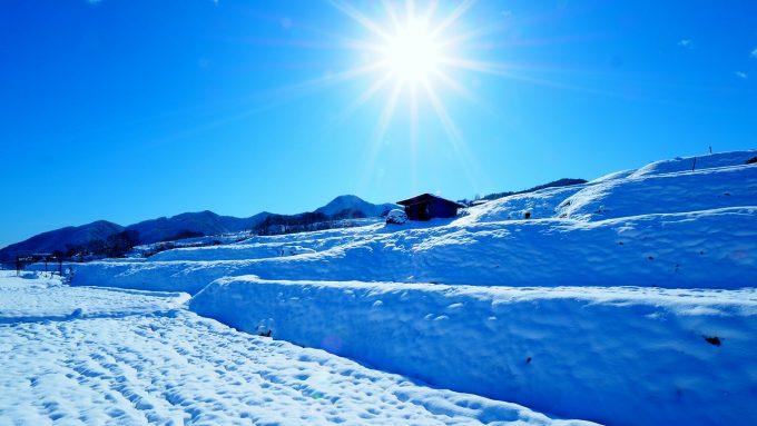 雪景色姨捨棚田冬