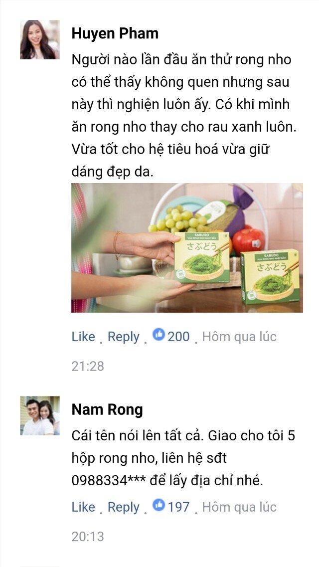 Bình luận của khách hàng về Rong nho Sabudo chính hãng