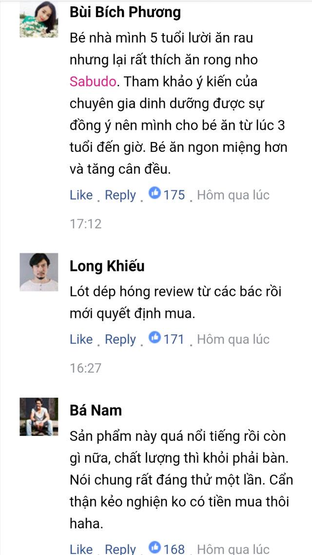 Bình luận của khách hàng về Rong nho Sabudo chính hãng 5