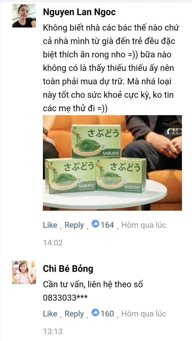 Bình luận của khách hàng về Rong nho Sabudo chính hãng 4