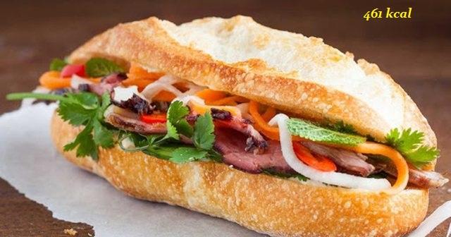 hàm lượng calo trong bánh mì là 461 calo