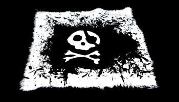 bandera pirata hecha con ceras