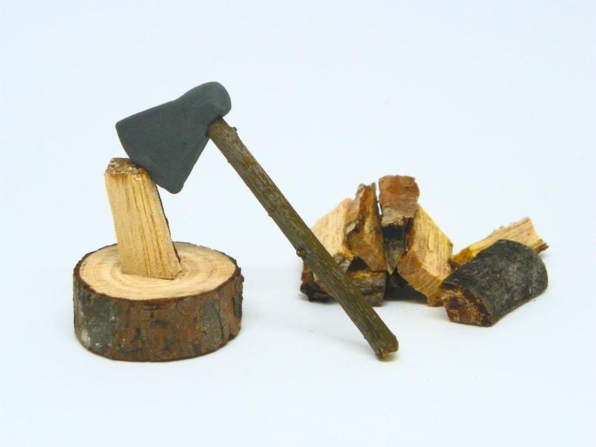 hacha de leñador plastilina miniatura