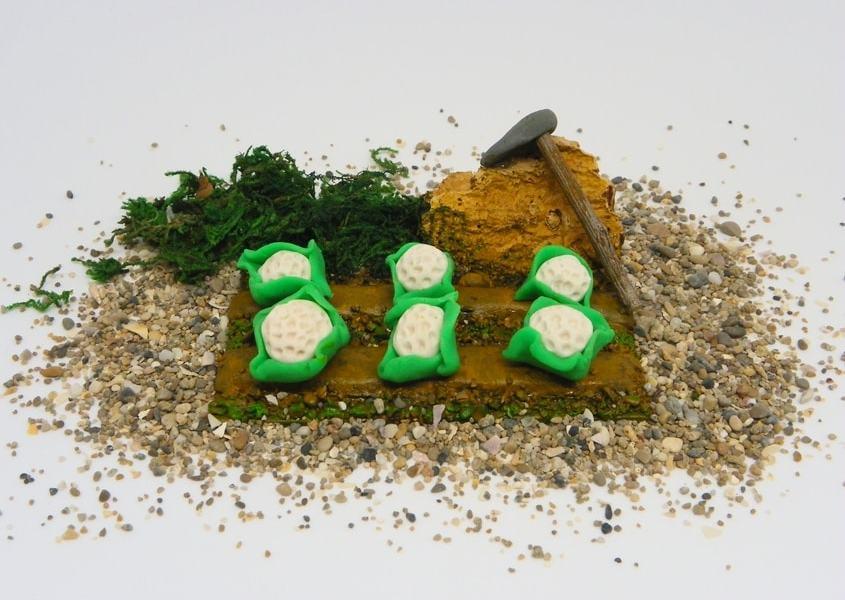 Miniatura decorativa para el Belén: Huerto de coliflores