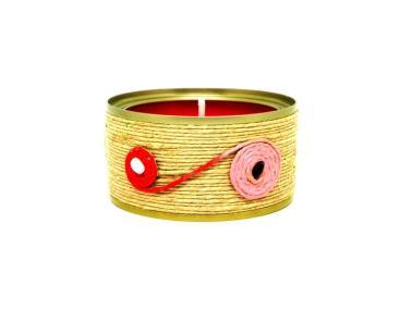 vela decorativa lata y cuerda