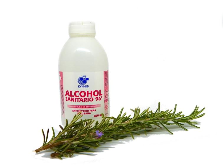 alcohol de 96 grados y ramas de romero fresco
