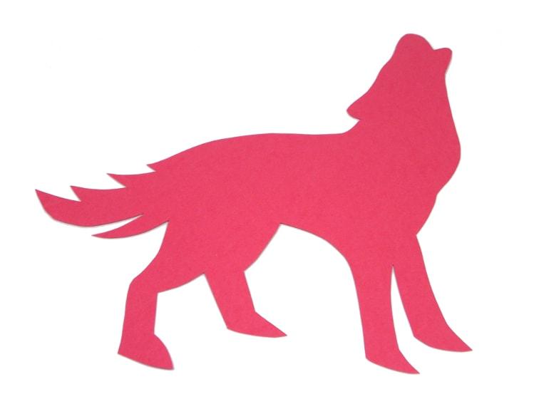 plantilla de lobo aullando en cartulina para hacer figura decorativa