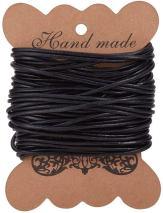 Cordones de Cuero Hilo de Cuero Redondo para Hacer Pulsera Collar bisuteria de Cuero Cordon Negro para Abalorios joyeria Manualidades