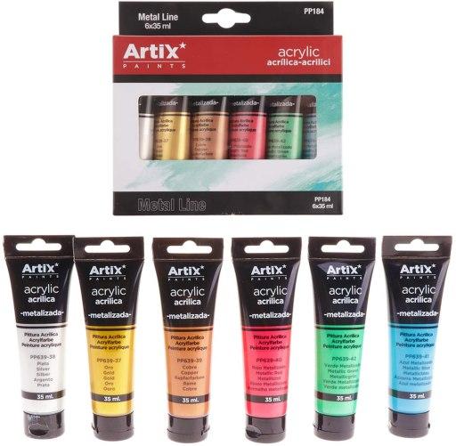 MP pinturas acrilicas colores metalizados 6 tubos 35ml