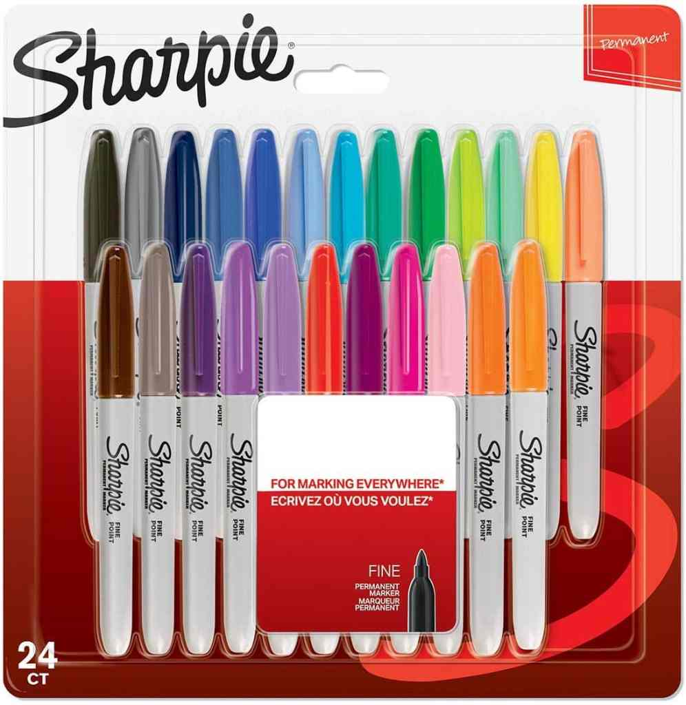 rotuladores permanentes sharpie de punta fina paquete de 24 colores surtidos