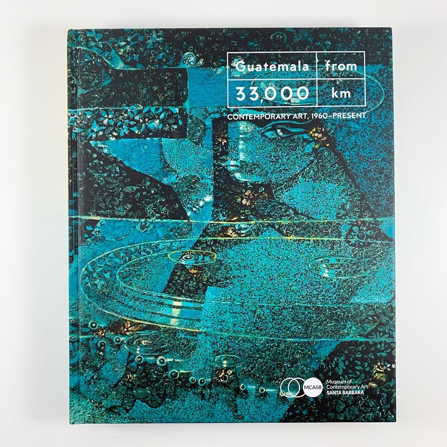 Book cover depicting a blue-green painting that resembles a starry-night and the Guatemalan territory.