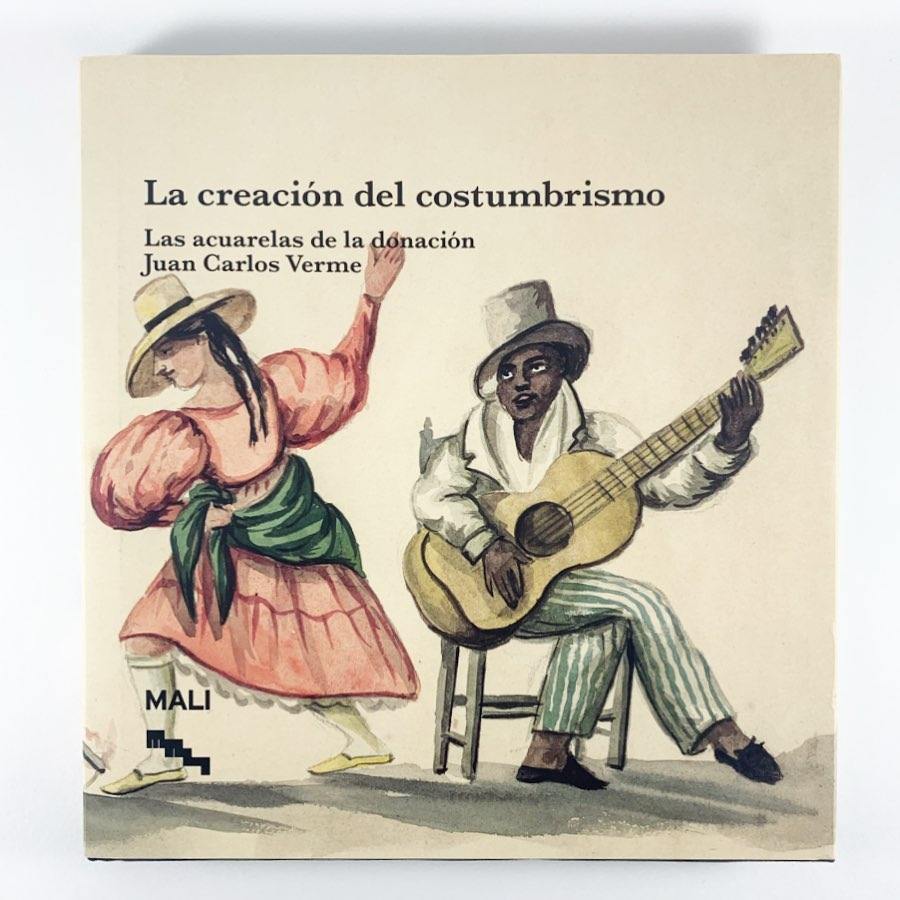 Book cover of a watercolor painting depicting a human figure playing a guitar and another human figure dancing.
