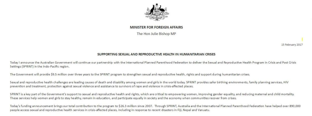 Julie Bishop's funding announcement. She later denied Planned Parenthood America was being funded.