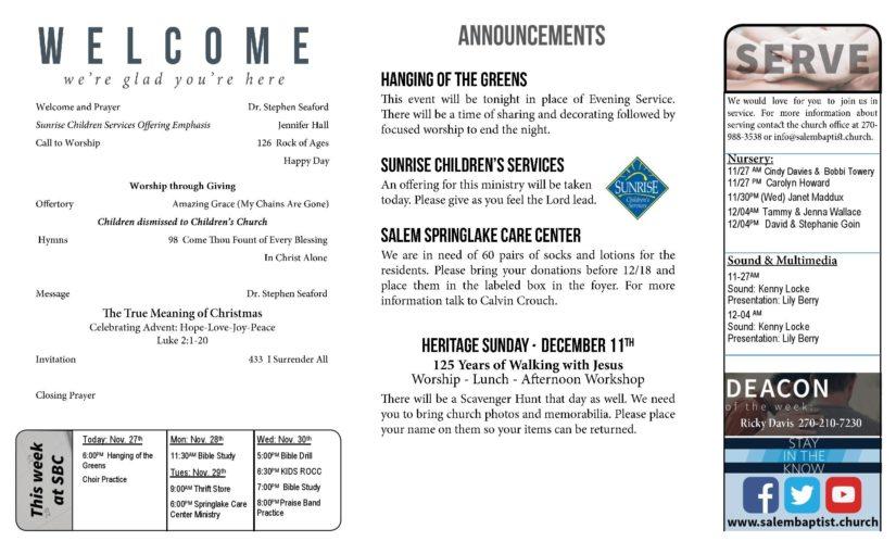 Salem Baptist Church Salem KY Church Bulletin Ideas