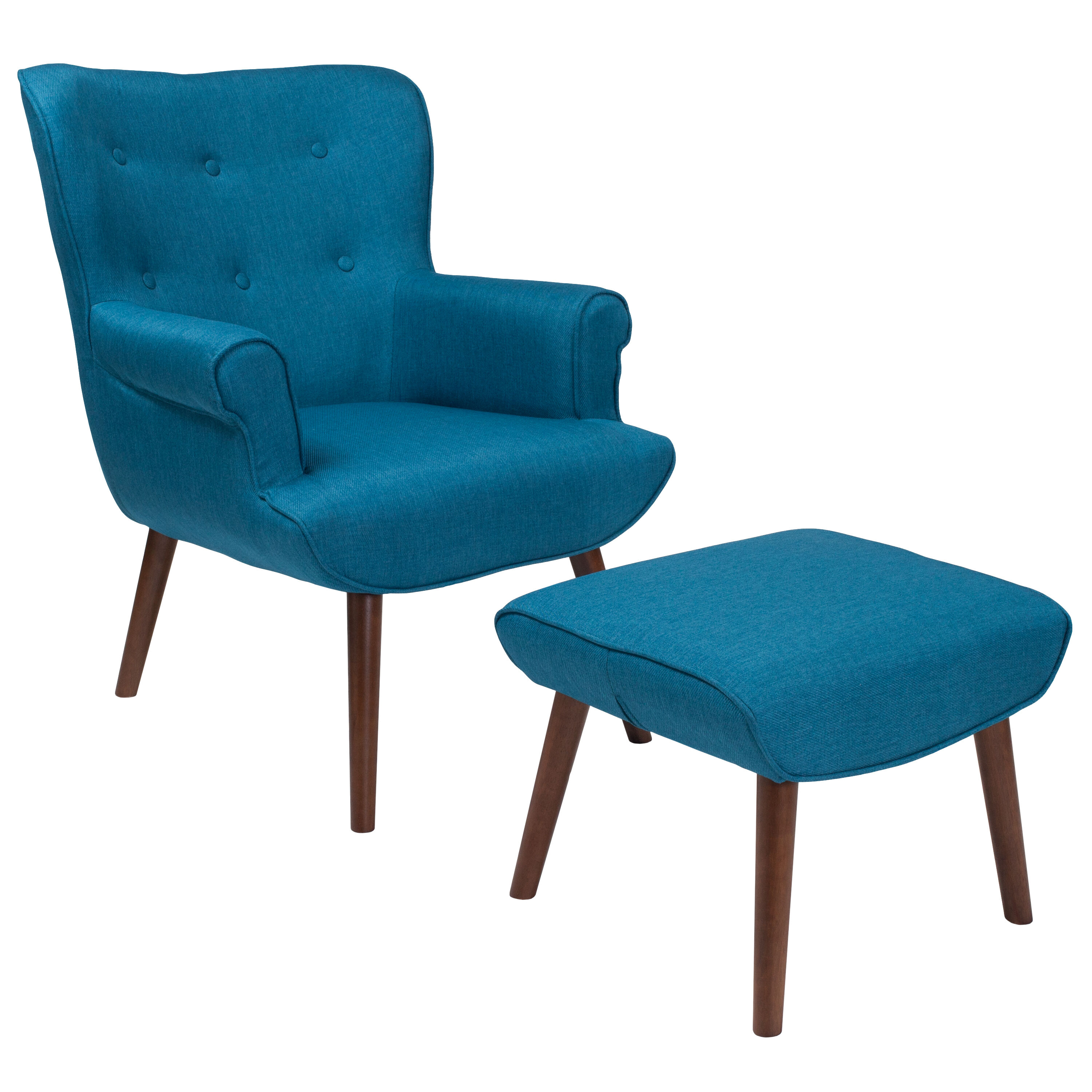 Teal Wingback Chair Bayton Upholstered Wingback Chair With Ottoman In Blue Fabric