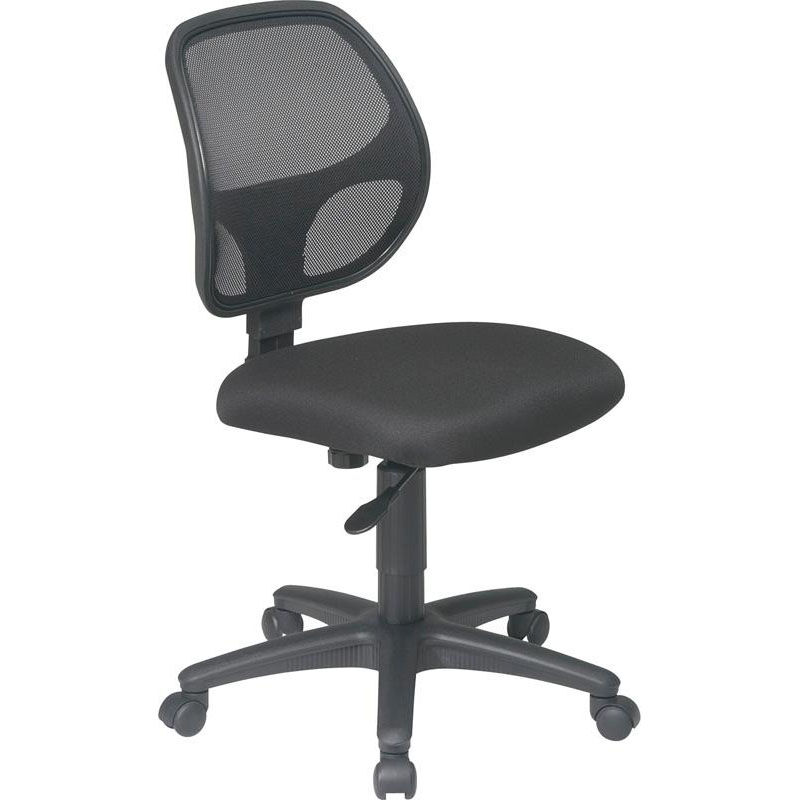 Armless Desk Chair On Casters Work Smart Black Task Chair Em2910 Churchchairs4less