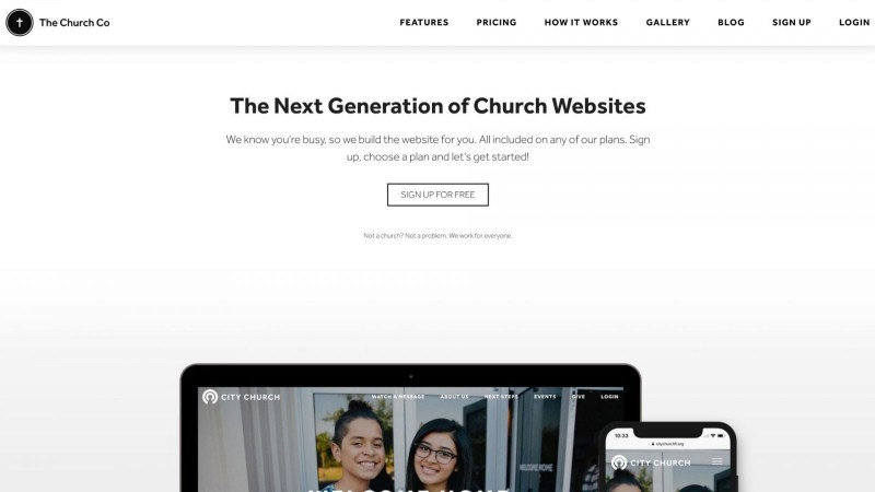 screenshot of TheChurchCo homepage website solution