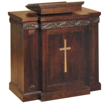 Woerner 1450 Church Pulpit Wood w Grape Leaf Scroll