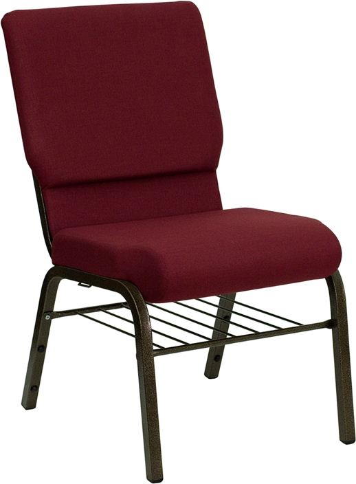 Cheap Church Chair from Hercules Burgundy w Book Rack  Church Furniture Partner