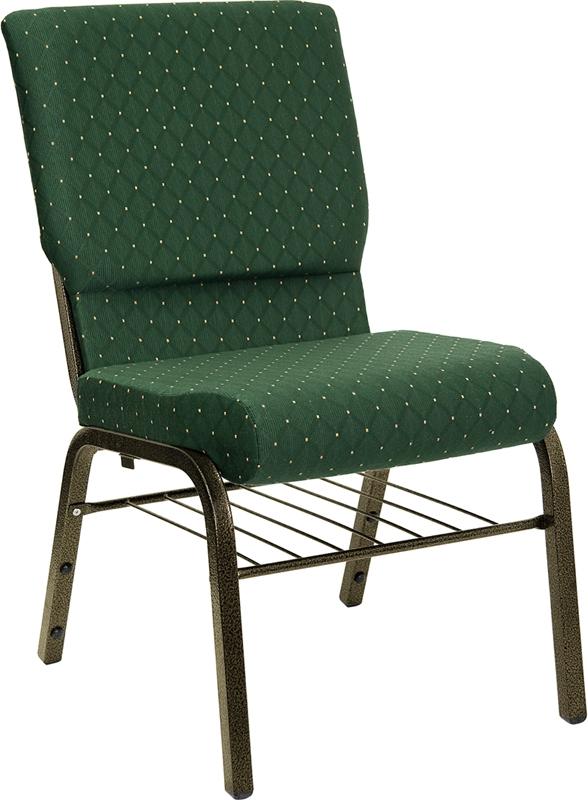 Hercules 185 Green Pattern Church Chair w Bookrack