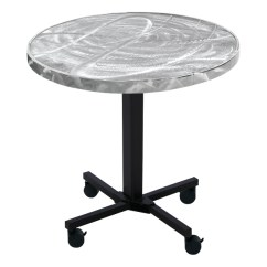 Metal Lounge Chair With Wheels Stylish Office Chairs Aluminum Swirl-top Mobile Church Cafe Table | Furniture Partner