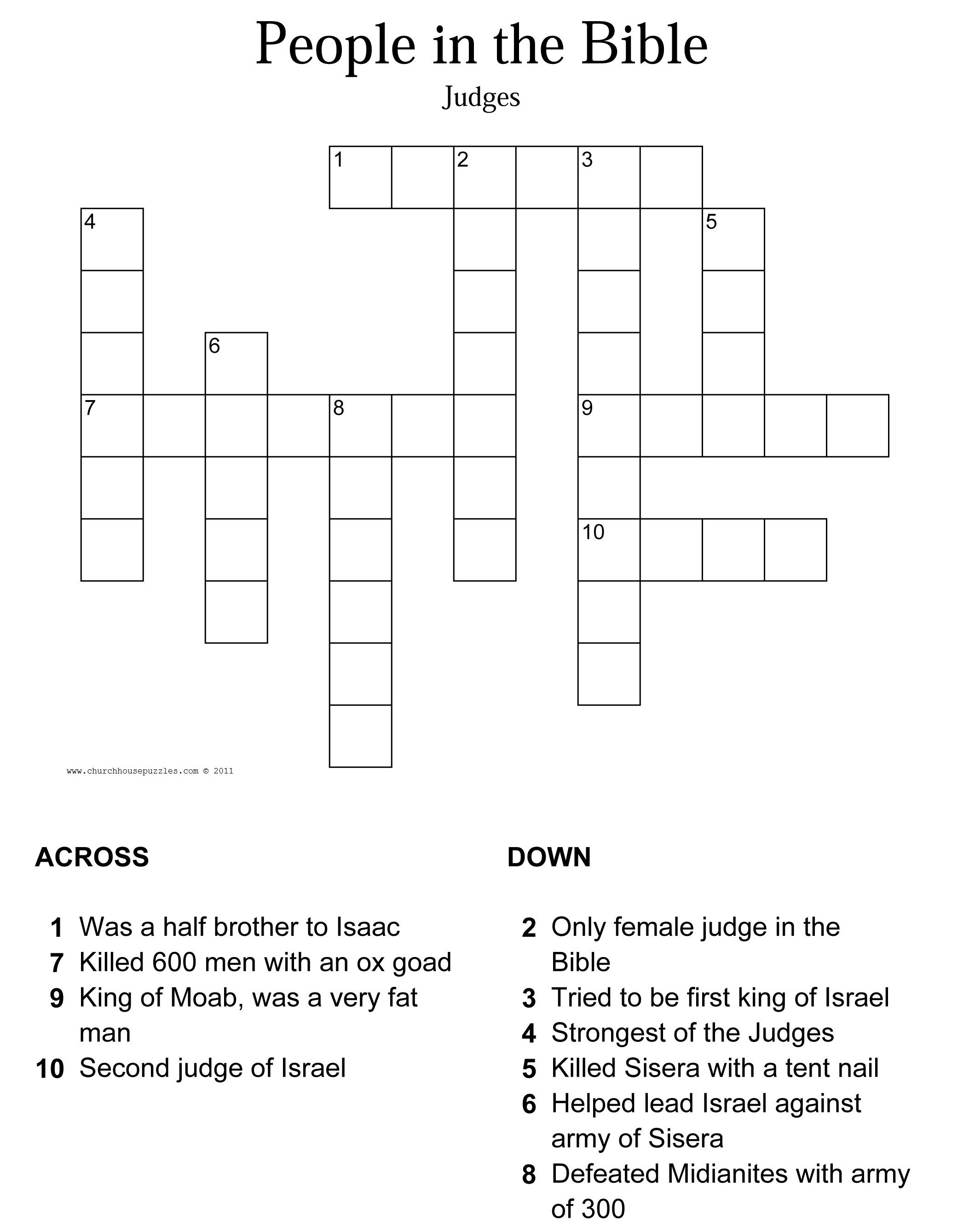Printable Bible Crossword Puzzles With Scripture References