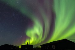 On the roof. Northern lights. Rod Kuo photo.