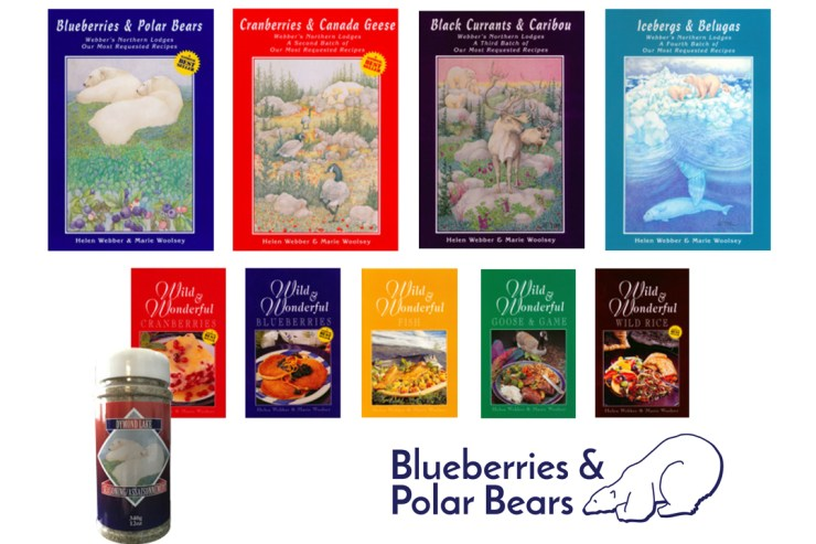 Blueberries & Polar Bears Cookbooks with Dymond Lake Seasoning.