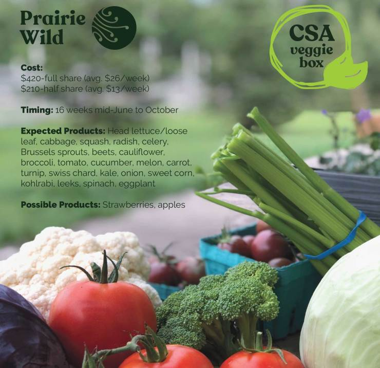 Prairie Wild CSA Veggie Box Subscriptions. June-October 2021.