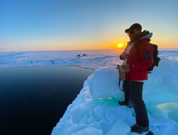 Surveying the landscape from atop an ice floe