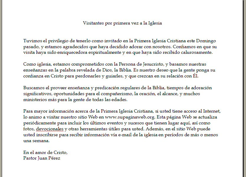Spanish Church Letter Software - Cartas Pastorales