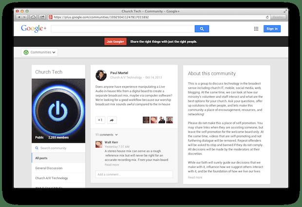 Church Tech Google Pluse Community Screenshot