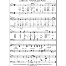 All hail the power of Jesus name Perronet  Sheet Music (SATB) with Practice Music tracks. Make unlimited copies of sheet music and the practice music.