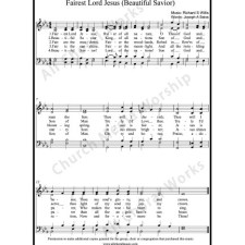 Fairest Lord Jesus Sheet Music (SATB) with Practice Music tracks. Make unlimited copies of sheet music and the practice music.