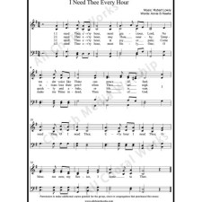 I need thee every hour Sheet Music (SATB) with Practice Music tracks. Make unlimited copies of sheet music and the practice music.