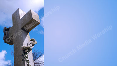 Stone cross with chain sky Christian Worship Background. High quality worship images for use to spread the Gospel and enhance the worship experience.