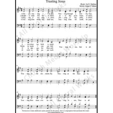 Trusting Jesus Sheet Music (SATB) with Practice Music tracks. Make unlimited copies of sheet music and the practice music.