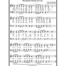Wonderful Words Of Life Sheet Music (SATB) with Practice Music tracks. Make unlimited copies of sheet music and the practice music.