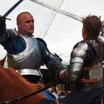 Knights sword fighting on horseback