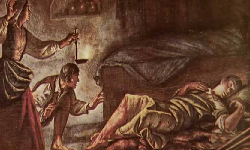 A painting of Pellicer's parents finding him asleep with his leg restored. Artist unknown. / via planoinformativo.com