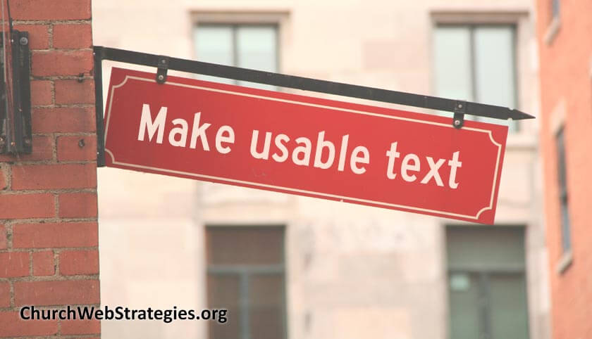 "sign on brick building that says ""Make usable text"""