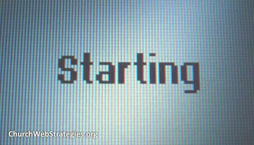 "Computer screen displaying ""Starting"""