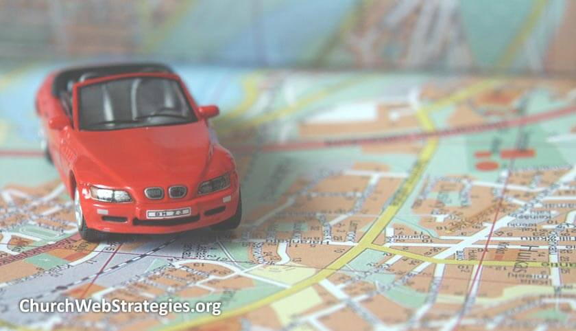 Car on a map