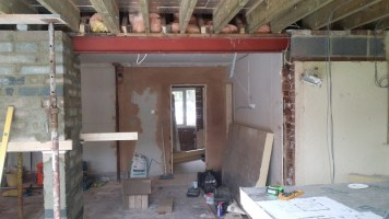 Architectural steelwork in place.